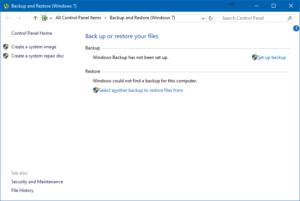 Windows Backup and Restore