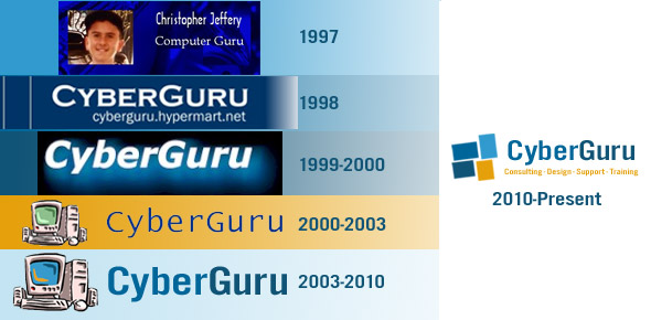 Image of CyberGuru's former and present logos since 1997
