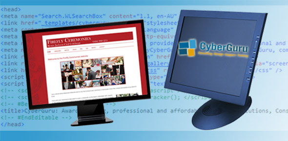 Image of computer monitors displaying a selection of CyberGuru's designs in front of HTML code